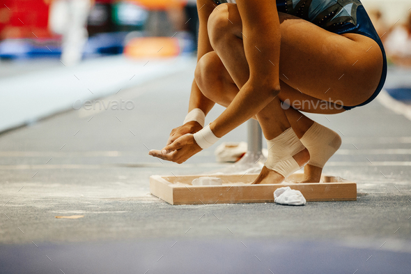 girl gymnast in chalk - Stock Photo - Images