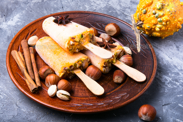 ice cream with pumpkin and nuts - Stock Photo - Images