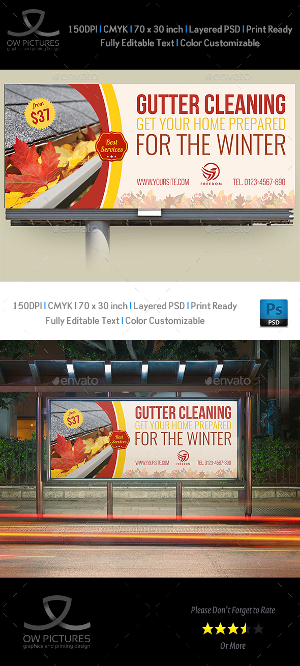 GraphicRiver Gutter Cleaning Services Billboard Template 21004121