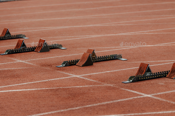 starting blocks on start line  - Stock Photo - Images