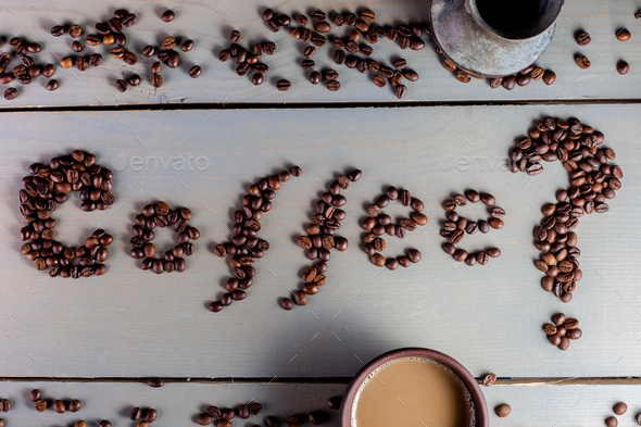 Coffee Inscription. Word Coffee on The Table near Cup. Flat Lay. - Stock Photo - Images