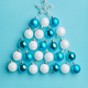 Christmas tree made of white and blue baubles - PhotoDune Item for Sale