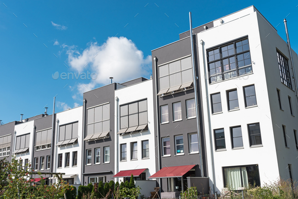 New serial houses in Berlin, Germany - Stock Photo - Images