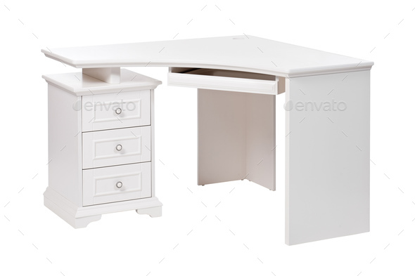 White wooden desk and computer table over white, with path - Stock Photo - Images