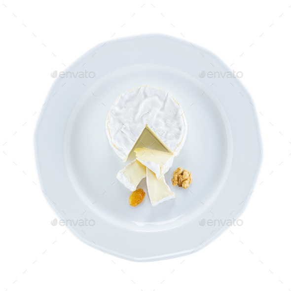 Camembert cheese on plate over white, with path - Stock Photo - Images