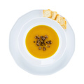 Pumpkin cream soup with truffle, with clipping path