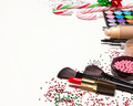 Christmas makeup cosmetics and accessories with copy space - PhotoDune Item for Sale