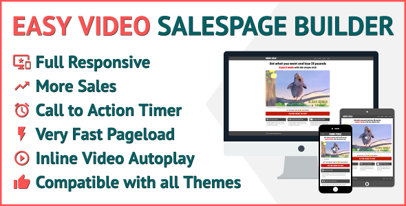 Easy Video Salespage Builder for WordPress Video Sales Funnel WordPress Plugin - CodeCanyon Item for Sale