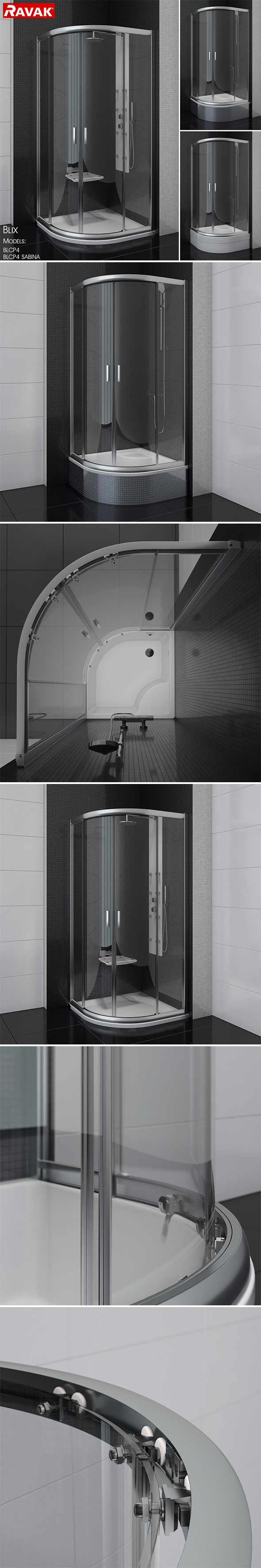 Semicircular shower enclosures Ravak Blix - 3DOcean Item for Sale
