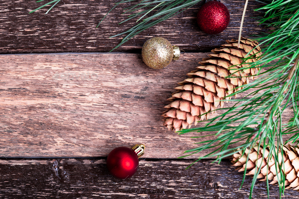 Merry Christmas New Year Composition Rustic Background. Flat Lay. - Stock Photo - Images