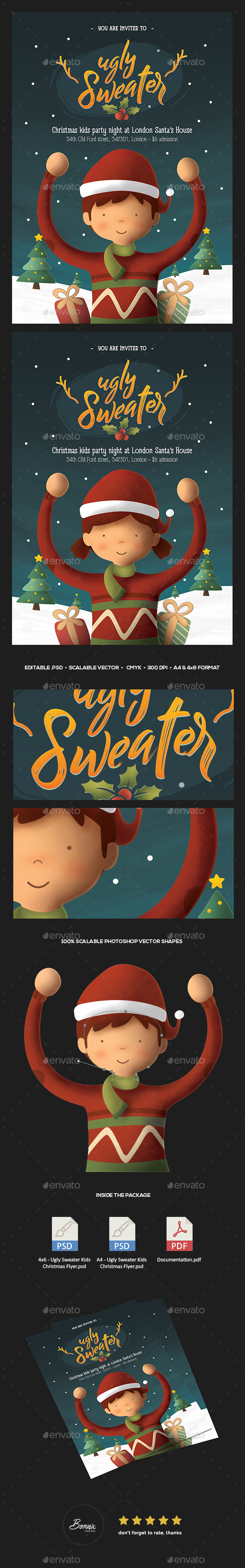 Ugly Sweater Kids Christmas Flyer - Holidays Events