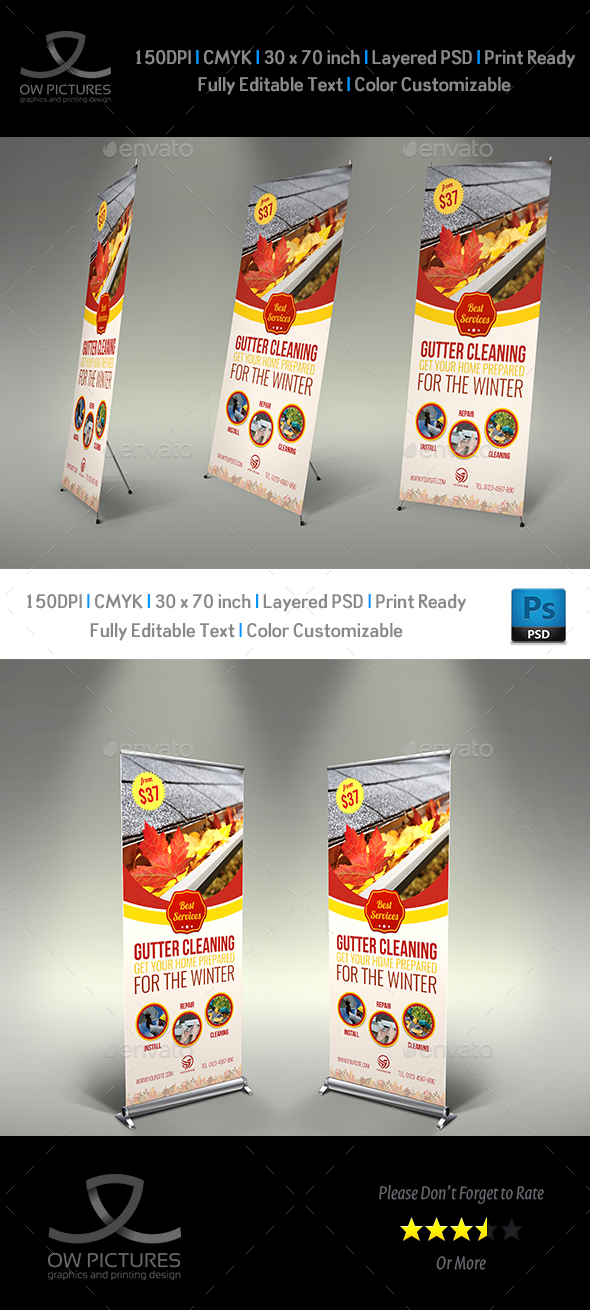 GraphicRiver Gutter Cleaning Services Signage banner Roll Up Template 21004772