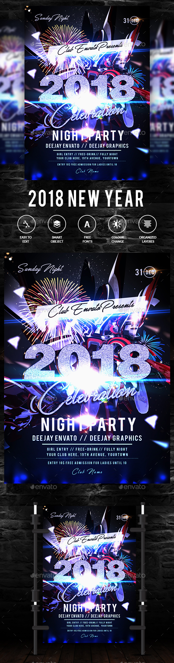GraphicRiver New Year Party Flyer 21004803