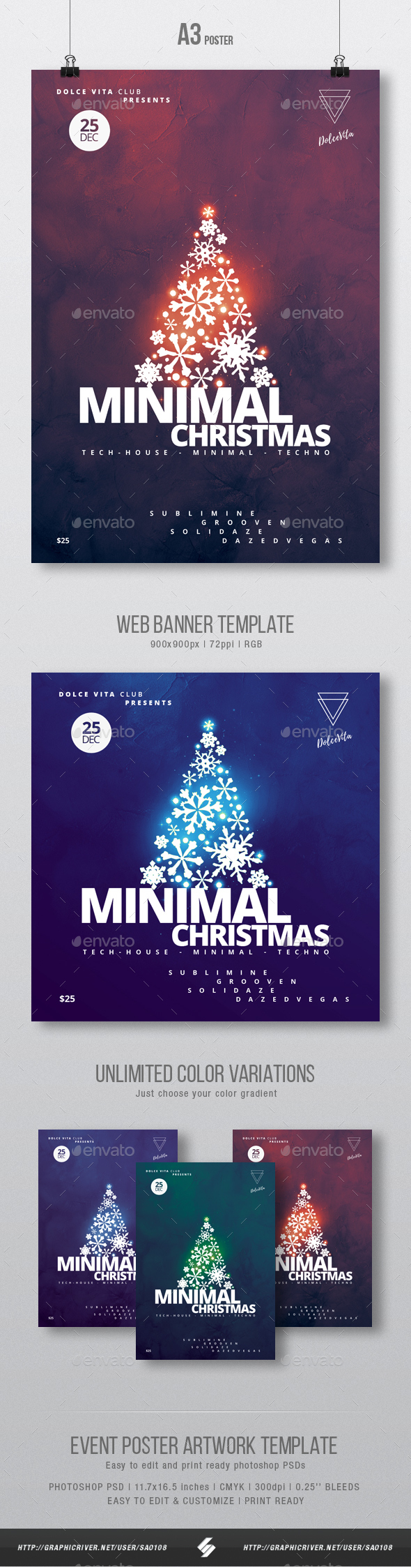 Minimal Christmas - Party Flyer / Poster Artwork Template A3 - Clubs & Parties Events
