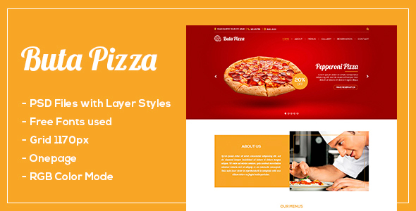 Buta Pizza - One page PSD - Restaurants & Cafes Entertainment
