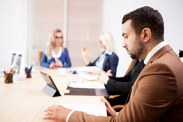 Team of business people at meeting in the conference room - Stock Photo - Images