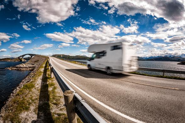Caravan car RV travels on the highway Atlantic Ocean Road Norway - Stock Photo - Images