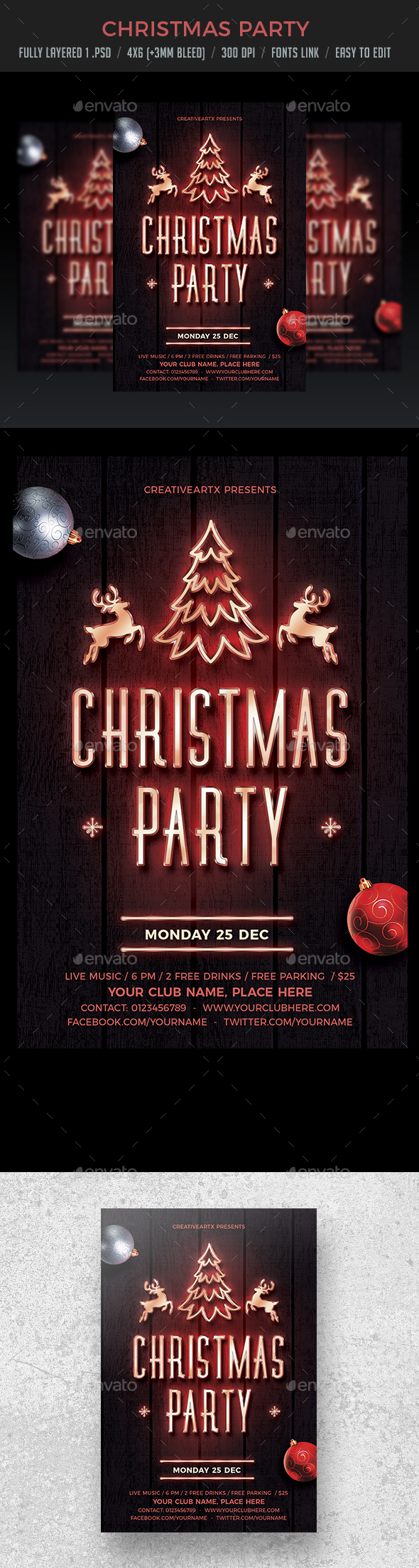 GraphicRiver Christmas Party Neon Flyer 21005158