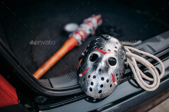 Hockey mask, baseball bat, rope, murderer concept - Stock Photo - Images