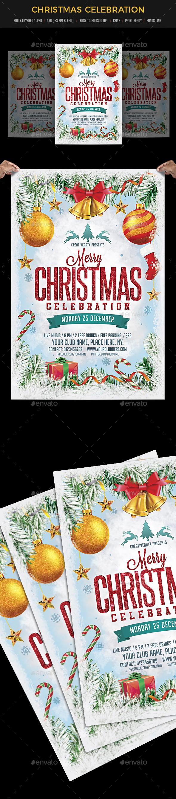 Merry Christmas Celebration Flyer - Events Flyers
