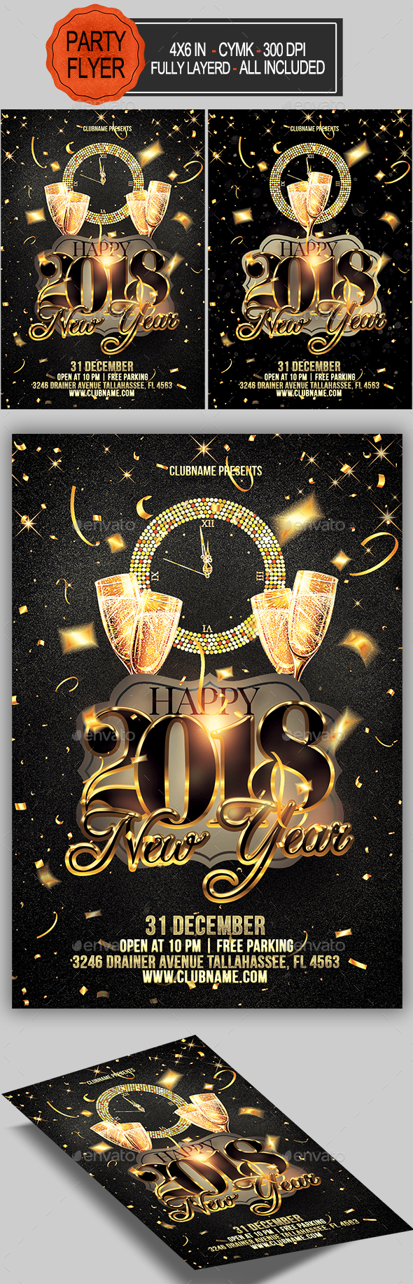 GraphicRiver New Year Party Flyer 21005450