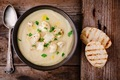 cauliflower cream soup with fried cauliflower and toasts