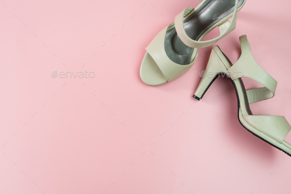 Biege high heel on pink background, Top view - Stock Photo - Images