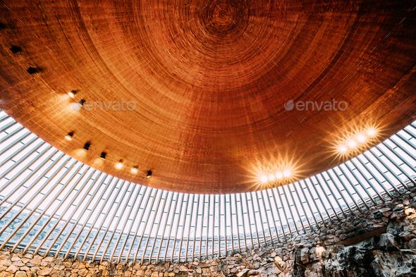 Helsinki, Finland. Interior Of Lutheran Temppeliaukio Church Als - Stock Photo - Images