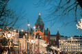 Helsinki, Finland. Uspenski Cathedral On Hill In Evening Or Nigh