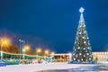 Gomel, Belarus. Xmas Christmas Tree In Lenin Square At Evening O - PhotoDune Item for Sale