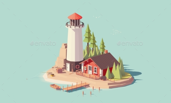Vector Low Poly Lighthouse - Landscapes Nature