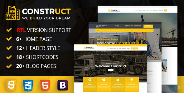 Construct : Construction, Building & Maintenance Business Template            nulled