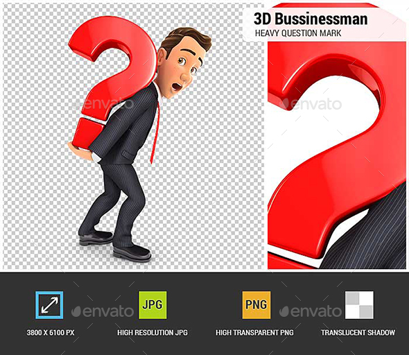 GraphicRiver 3D Businessman Carrying Heavy Question Mark 21006079