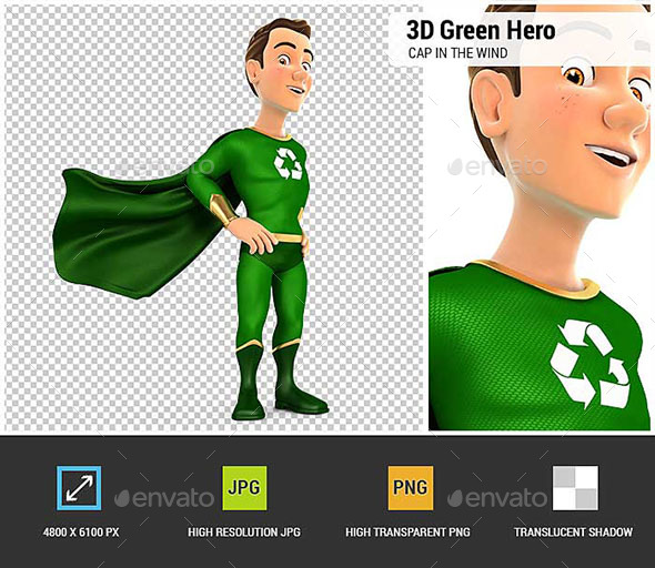 GraphicRiver 3D Green Hero Standing with Cape in the Wind 21006086