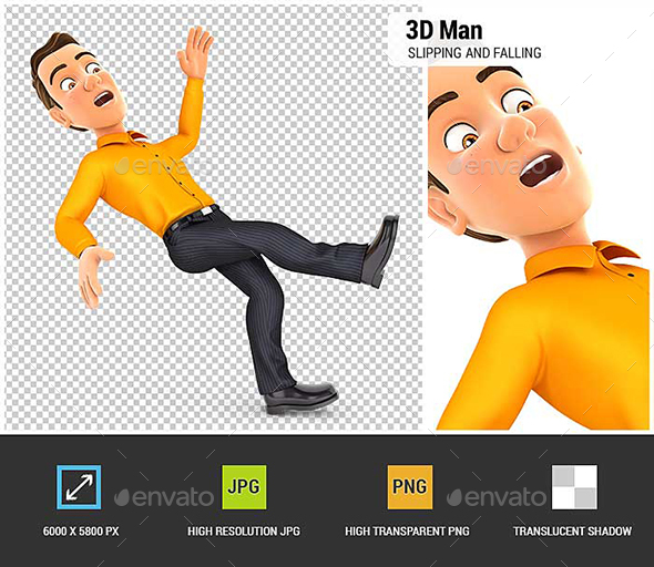 GraphicRiver 3D Man Slipping and Falling 21006090