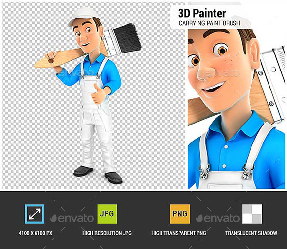 GraphicRiver 3D Painter Carrying Paint Brush on Shoulder 21006093