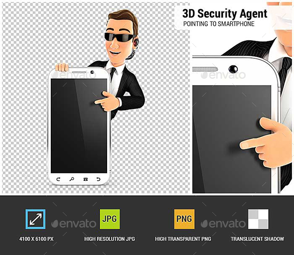 GraphicRiver 3D Security Agent Pointing to Blank Smartphone 21006105