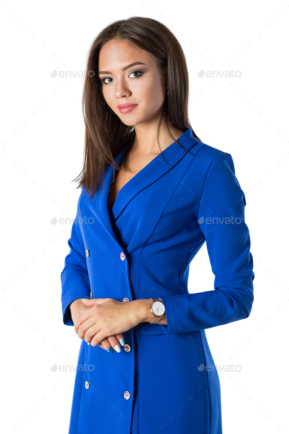 Beautiful young woman in blue dress - Stock Photo - Images