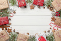 Christmas decoration and gift boxes background