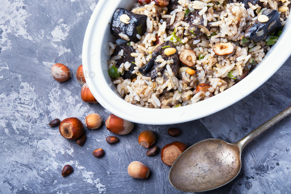 rice with mushrooms - Stock Photo - Images