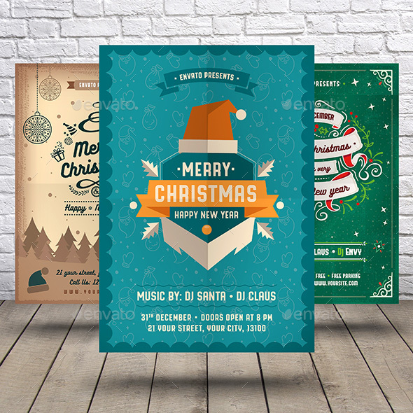 GraphicRiver Christmas & Happy New Year Flyer Bundle 21006686