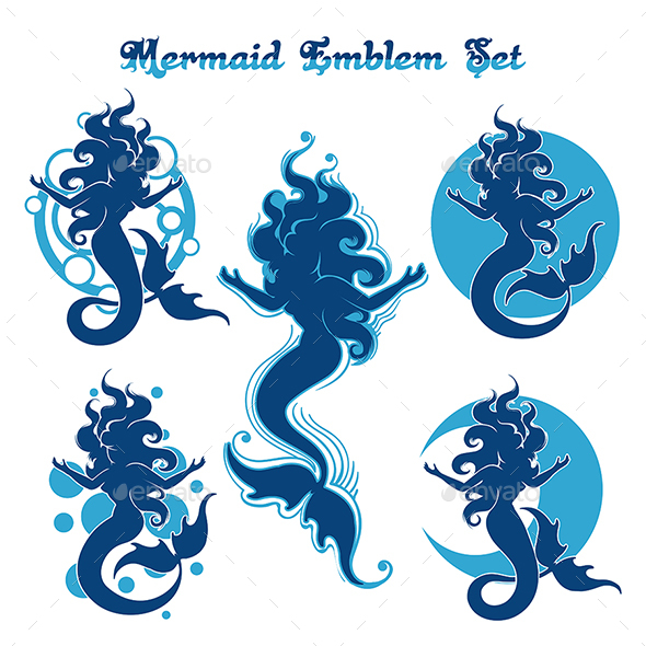 GraphicRiver Mermaid Emblem Set 21006822
