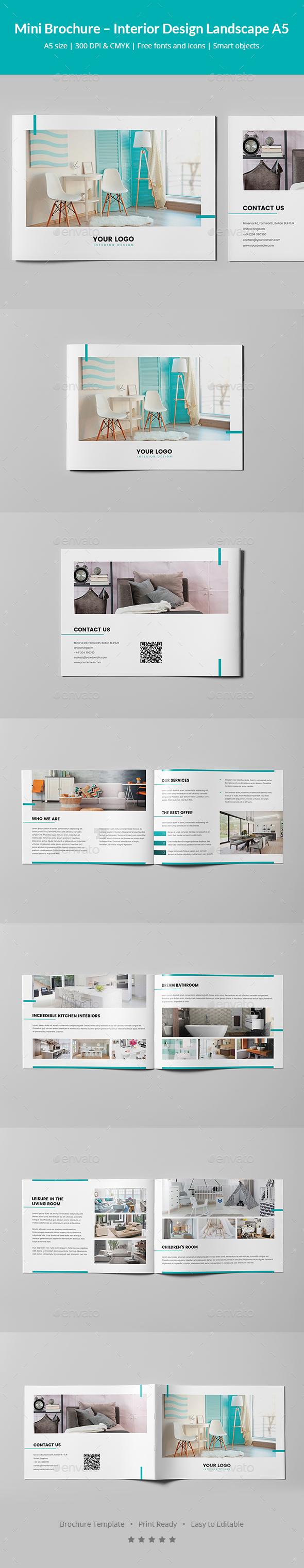 GraphicRiver Mini Brochure Interior Design Landscape A5 21006826