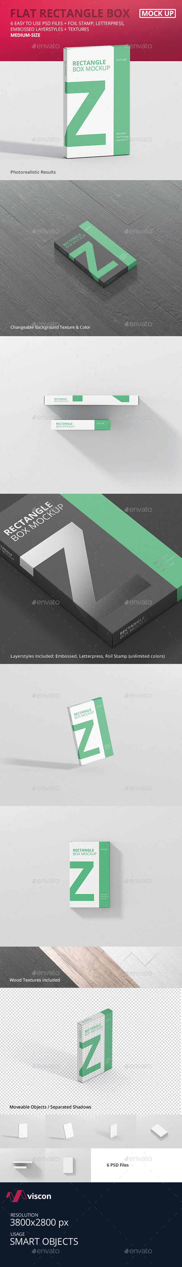 Box Mockup - Medium Size Flat Rectangle - Miscellaneous Packaging
