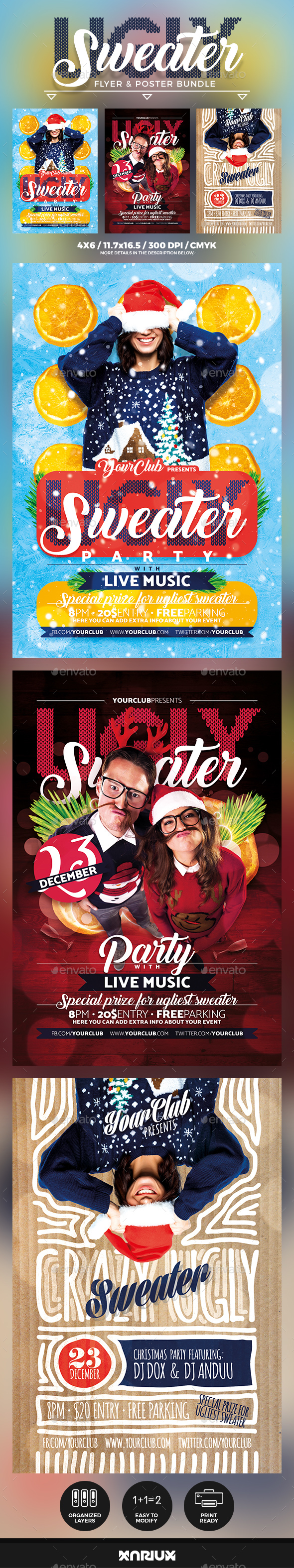GraphicRiver Ugly Sweater Flyer & Poster Bundle 21006874