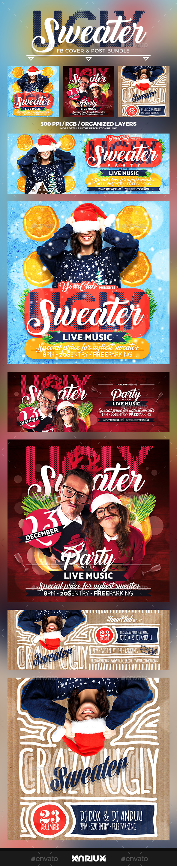 GraphicRiver Ugly Sweater Facebook Cover Bundle 21006901