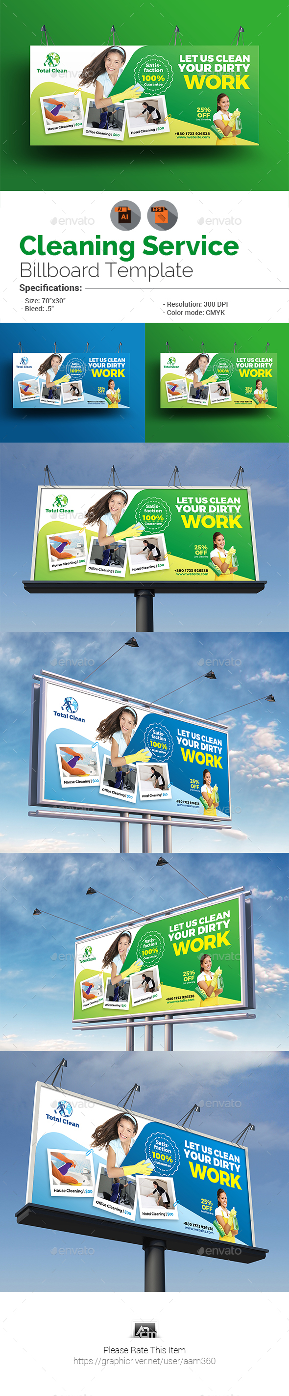 GraphicRiver Cleaning Services Billboard Template 21007120