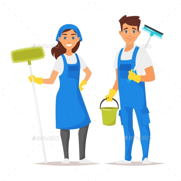Cleaning Service Man and Woman - People Characters