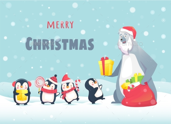 GraphicRiver Polar Bear Gives Gifts To Penguins 21007196