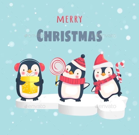 GraphicRiver Penguins on the Ice Floe 21007201